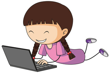 A doodle kid using laptop cartoon character isolated