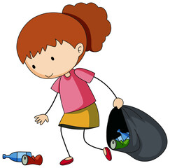 A doodle girl cleaning trash cartoon character isolated