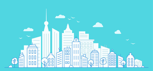 Urban city landscape with high skyscrapers. Thin line City landscape on blue background. White paper houses. Vector illustration.