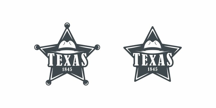 Set of black and white illustrations of a star, hat, text on a white background. Vector illustration for emblem, print, badge and label. Texas symbol.