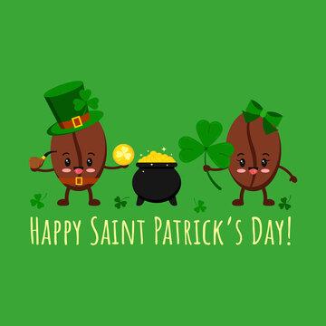 St Patrick day coffee beans in leprechaun costume, pot with gold, clover. Coffee grain smilling character in leprechaun hat with shamrock clover and cauldron. Flat design cartoon vector illustration.