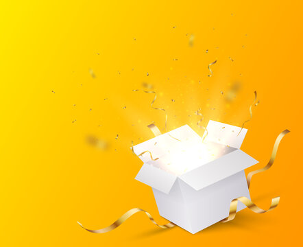 Open box with gold confetti , isolated on transparent background