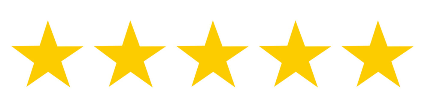 5 or Five stars sign symbol on white background. illustration. Ranking quality service review feedback. The best choice.