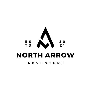 NA letter mark north arrow compass logo vector icon illustration