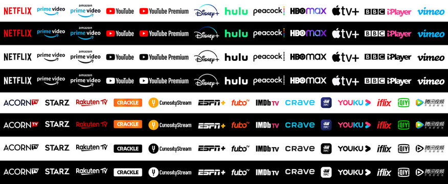 Collection of popular tv and video streaming services vector logos.