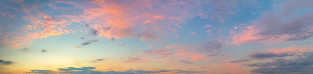 Huge Panorama of  Sunset  Sunrise Sundown Sky with colorful clouds