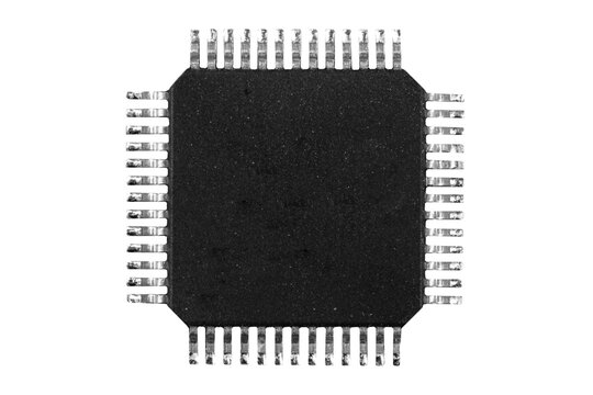 Macro shot microchip isolated on white background. Computer hardware technology. Integrated communication processor isolated over white. Information engineering. Semiconductor. PCB. Closeup