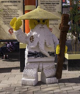 WINDSOR, UNITED KINGDOM - Apr 06, 2018: A large Lego Sensei Wu figure