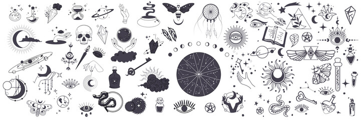 Obraz Mystic vector items, moon, hands, crystals, planets. Doodle astrology style. Doodle esoteric, boho mystical hand drawn elements. Magic and witchcraft, witch esoteric alchemy. Icons set. Vector - fototapety do salonu
