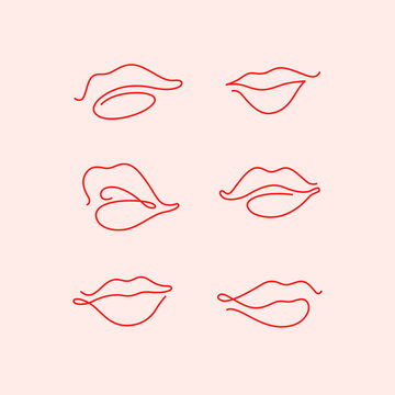 Contour line illustration of lips for  beauty salons, cosmetics.