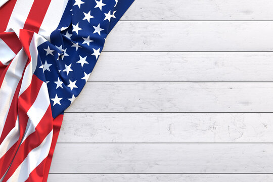 Labor Day, American flag on a wooden table.