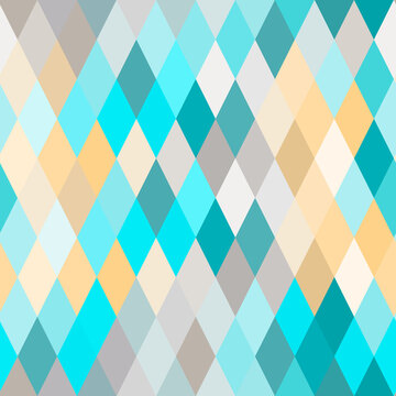 Seamless lozenge pattern of blue, turquoise, yellow colors. Rhombus repeating background for wrapping paper, surface design and other design projects