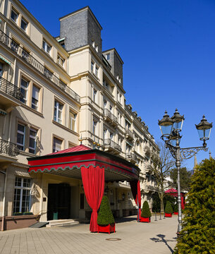 The entrance of Brenners Parkhotel at the river Oos, spa park and arboretum at the Lichtentaler Allee in Baden-Baden. Baden Wuerttemberg, Germany, Europe
