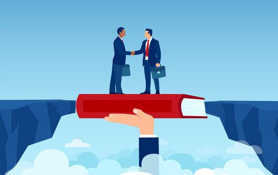 Vector of handshaking business men overcoming disagreements bridging the gap having a deal