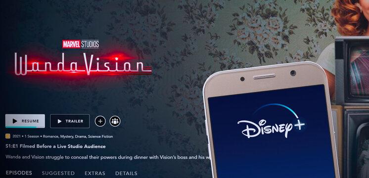 Wanda Vision Series on TV with Disney Plus App on smartphone screen. 10th Mar, Sao Paulo, Brazil.
