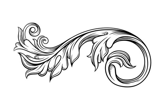 Baroque Element with Scroll and Ornamental Circular Motif Vector Illustration