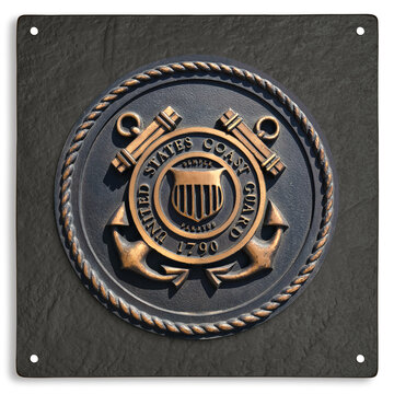 Los Angeles, California  USA - March 12 2019: U.S. Coast Guard emblem, crest or plaque on black granite background