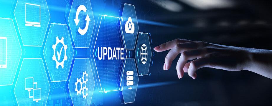 Update software system upgrade download new version internet technology concept.