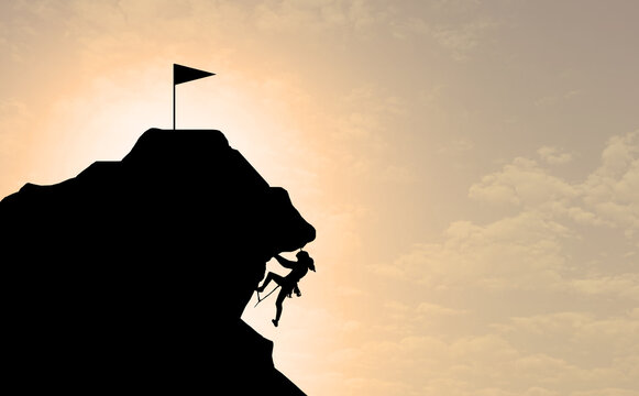 silhouette of a woman climbing the mountain forward to reach the top. businesswoman success process concept. female ambition or girl goals