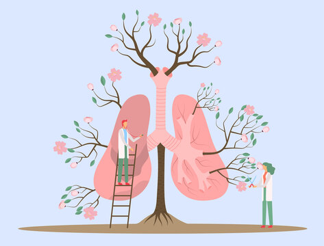 Vector illustration an abstract human lungs, fun tiny humans help it be healthy and vibrant
