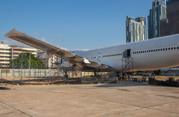 Old discarded airplane or jumbo jet is used as a restaurant