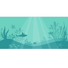 Marine underwater life. Underwater vector background with fishes, sea plants, shark, turtle, starfish, corals.