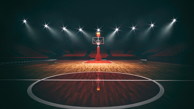 Interior view of an illuminated basketball stadium for a game