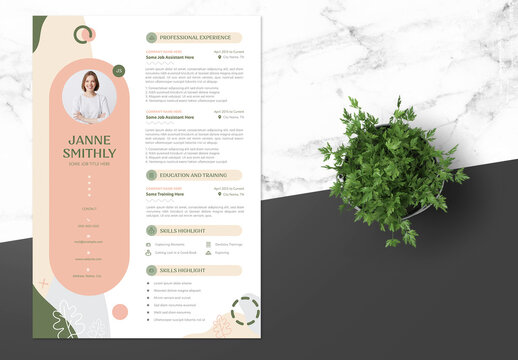 Elegant Female Resume with Green Accent