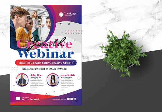 Webinar Digital Poster with Blue Accent