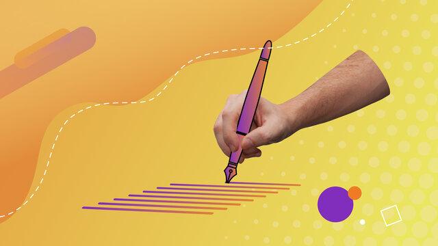 Conceptual contemporary art collage. Hand writing down holding a vector pen. Writing visual concept representation.