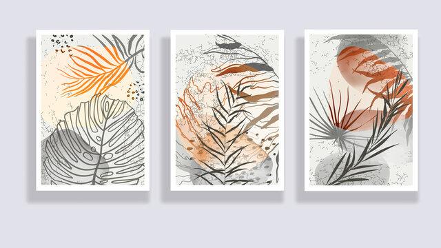 Trendy set of watercolor minimalist abstract illustrations. Minimal botanical wall art. Mid century modern graphic. Plant art design for social media, blog post, print, cover, wallpaper. Vector