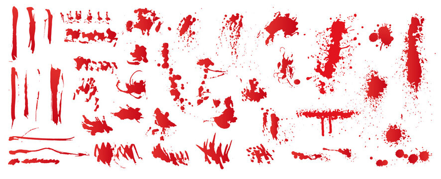Set of realistic bloody splatters. Drop and blob of blood. Bloodstains. Isolated. Vector illustration of bloody ink drips on white background.
