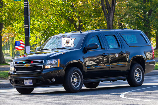 Washington DC, USA 11-06-2020: Armor plated Chevrolet Suburban with US presidential seal and 800 002 license plate used by presidential motorcade is cruising in Constitution Avenue near White House.