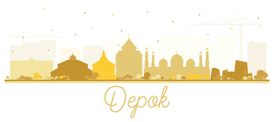 Depok Indonesia City Skyline Silhouette with Golden Buildings Isolated on White. Wall mural