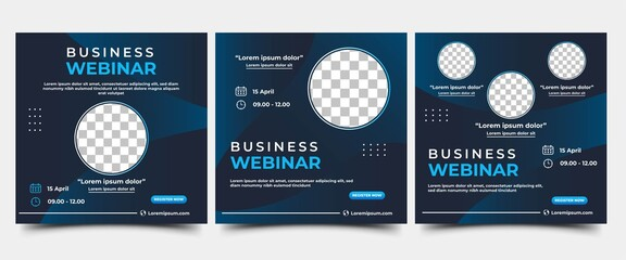 Fototapeta Set of Webinar Social Media post template. Modern banner with abstract gradient blue background. Vector design with place for the photo. Suitable for social media post, banners, and web internet ads.