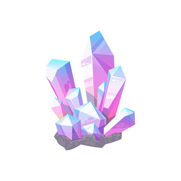 Purple gem stone isolated natural crystal icon. Vector violet amethyst or quartz, elegant mauve agate, lilac glittering mineral. Precious diamond crystal, jewelry decoration, sapphire carat gemstone