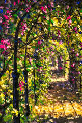 Original oil painting of spring sunny sun flowers tunnel greenhouse, beautiful road among flowering bushes of trees sunny painting on canvas. Modern Impressionism.Impasto artwork.