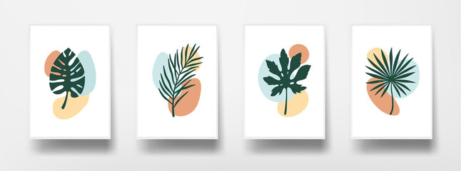 Botanical floral wall art set. Tropical leaves graphics on white sheet of paper. Home decor wall posters. Flat design modern background. Vector illustration.