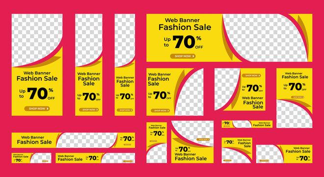 Fashion sale web banner design template Set. Horizontal, vertical web banner. Modern abstract cover header background for website design, Social Media Cover ads banner, flyer, invitation card