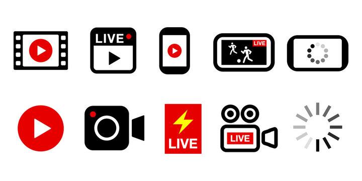 ビデオ動画ライブ配信ボタンのアイコン複数セットイラスト
