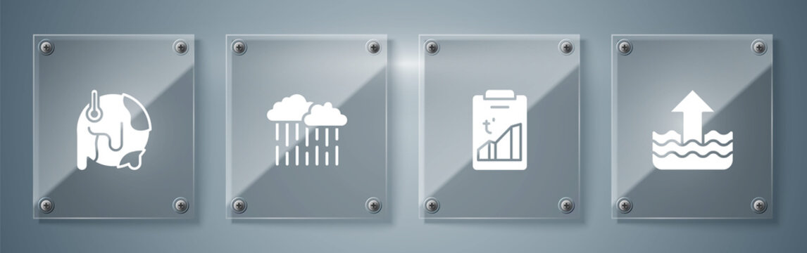 Set Rise in water level, Global warming, Cloud with rain and . Square glass panels. Vector.