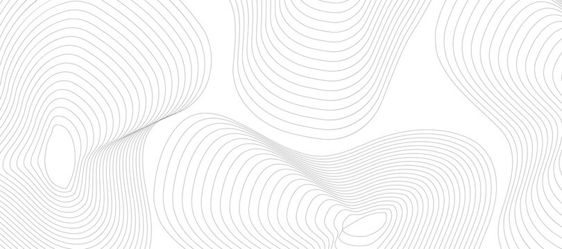 Abstract gray background with lines. Minimal topographic line contour map style. Modern wavy geographic grid map style. Eps 10 Vector