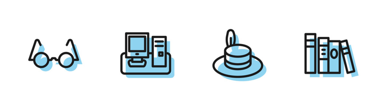 Set line Man hat, Eyeglasses, Monitor with keyboard and Book icon. Vector.