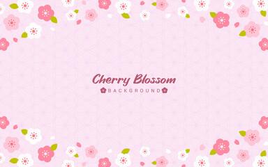 Wall Mural - Cherry Blossom background vector illustration. Sakura frame on pink geometric pattern background, flat design
