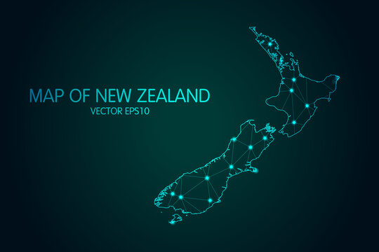 Map of New Zealand - With glowing point and lines scales on the dark gradient background, 3D mesh polygonal network connections.Vector illustration eps 10.