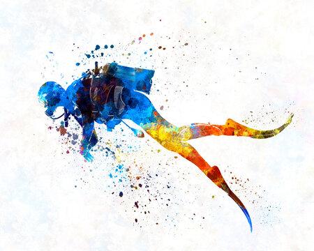 Man scuba diver  in watercolor