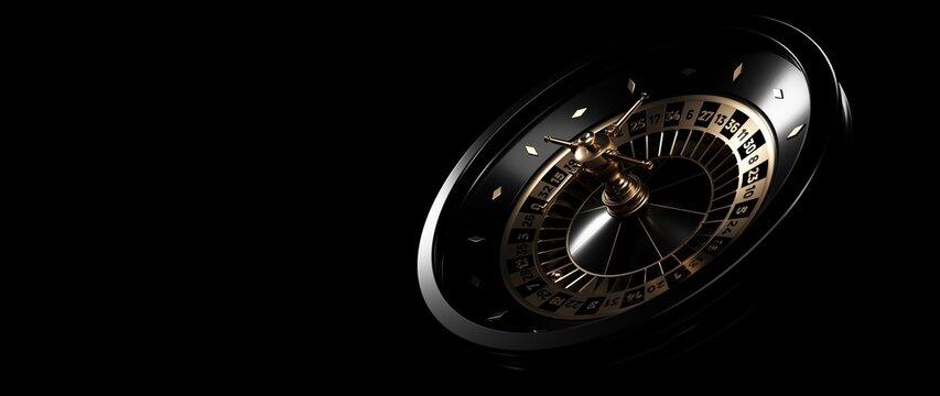 Modern Black And Golden Roulette Wheel. Casino Gambling Concept - 3D Illustration