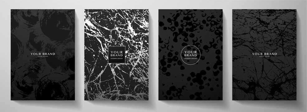 Modern black cover design set. Creative abstract art pattern with  brush stroke, marble texture, crack on background. Grunge vector collection for catalog, brochure template, magazine layout, booklet