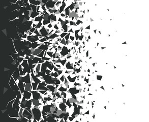 Obraz Abstract shatter background. Exploded black pieces scatter, shattered triangles destruction pattern. Broken particles vector background illustration set. Black destroyed fragments design - fototapety do salonu