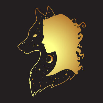 Silhouette of beautiful woman with shadow of wolf with crescent moon and stars isolated. Sticker, print or tattoo design vector illustration. Pagan totem, wiccan familiar spirit art